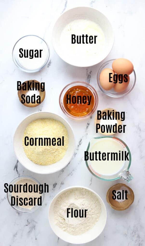 ingredients for sourdough cornbread