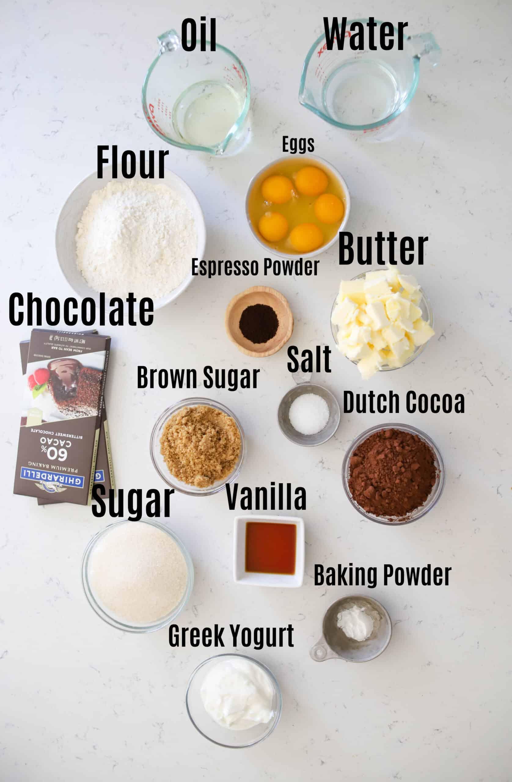 ingredients for brownie cake