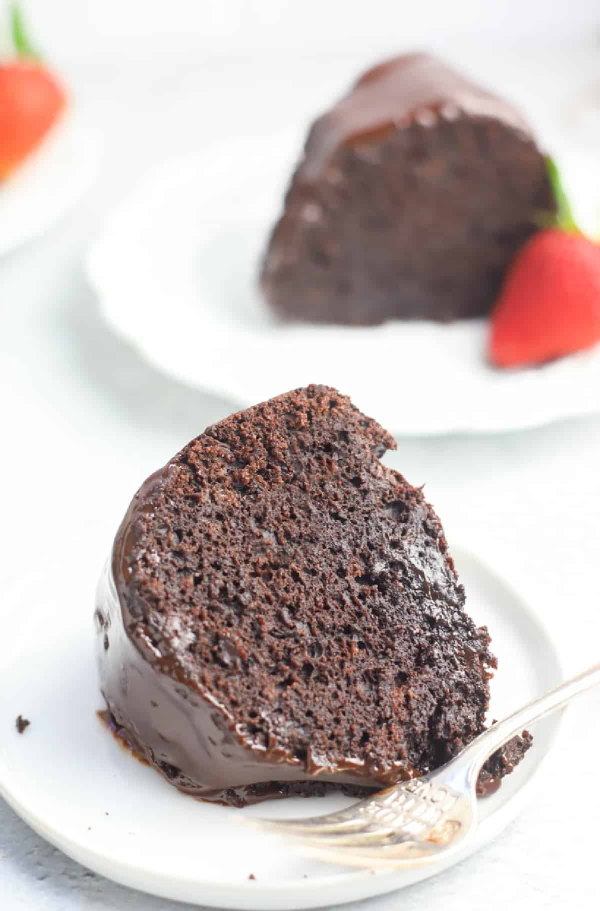 slice of brownie cake on a plate
