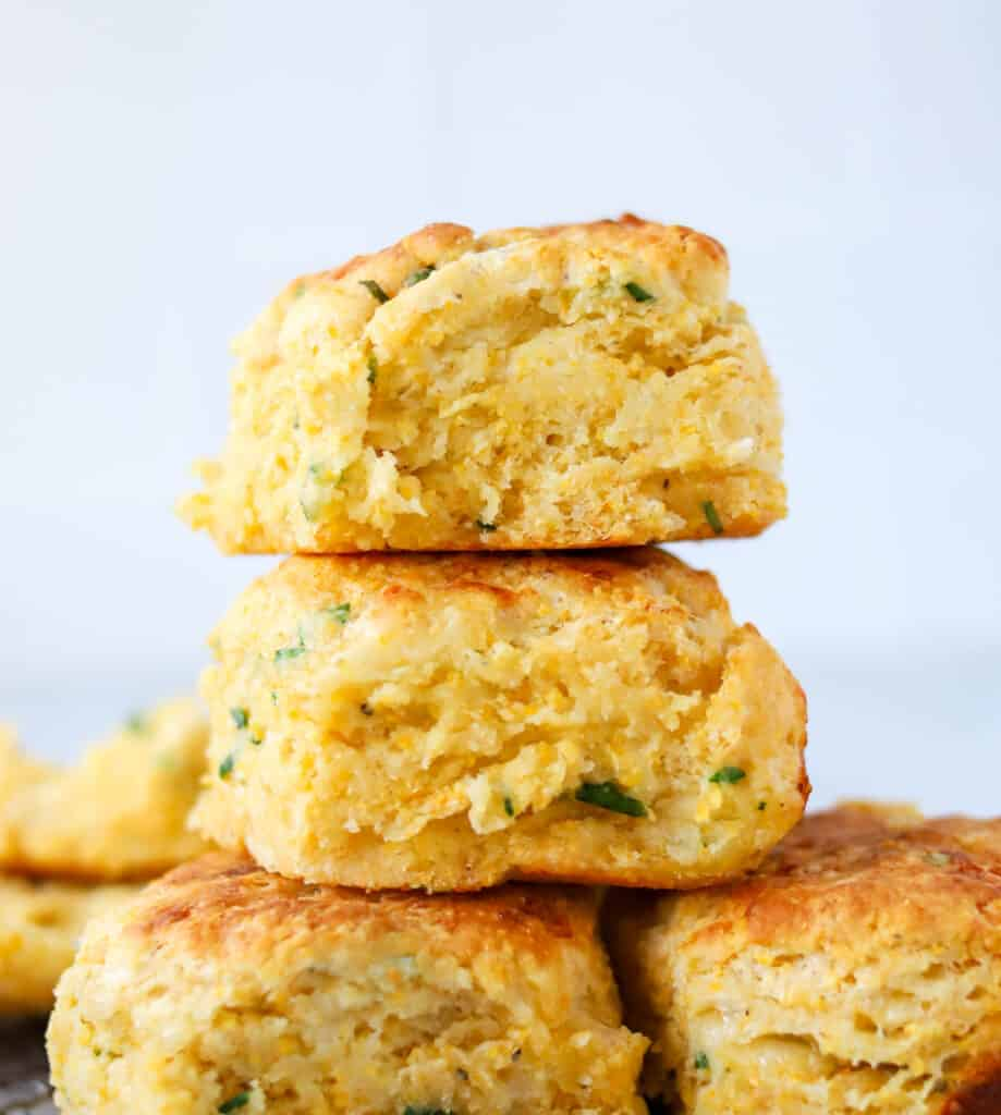 a stack of cheddar cornmeal biscuits