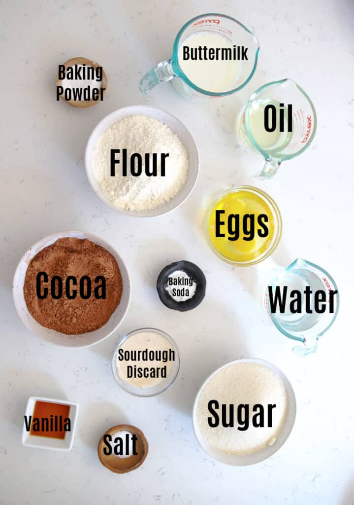 ingredients for sourdough chocolate cake
