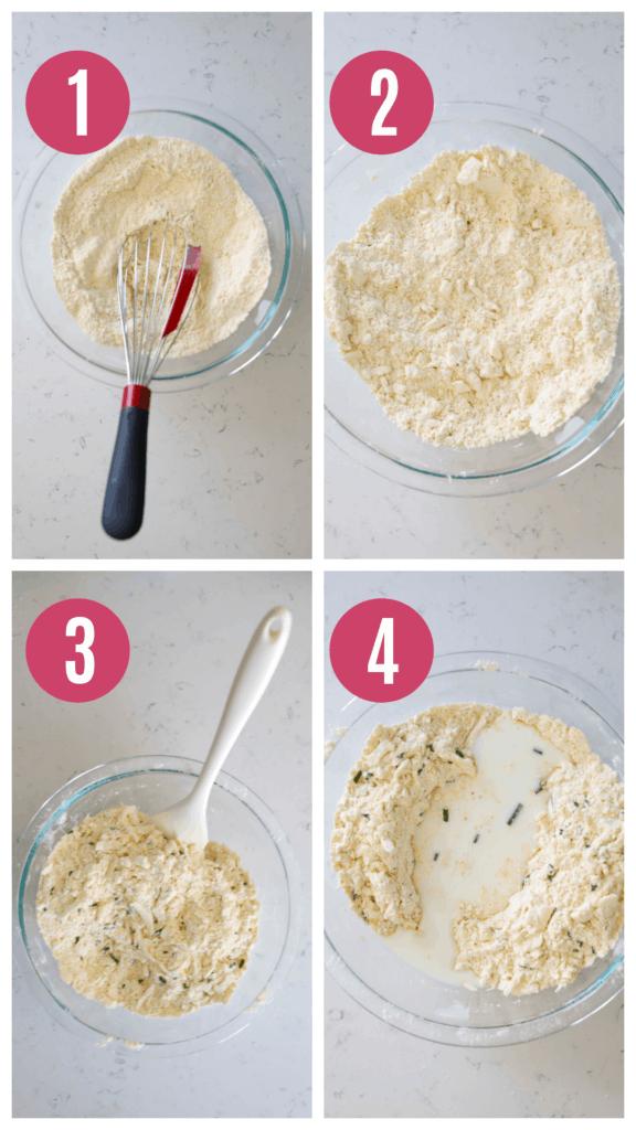making cornmeal biscuit dough