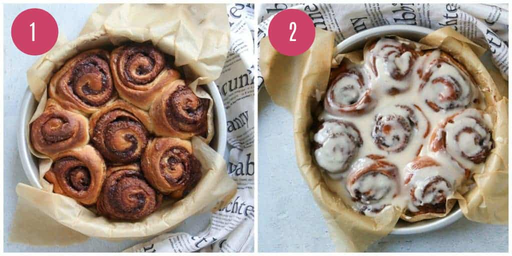 baked sourdough cinnamon rolls with and without glaze
