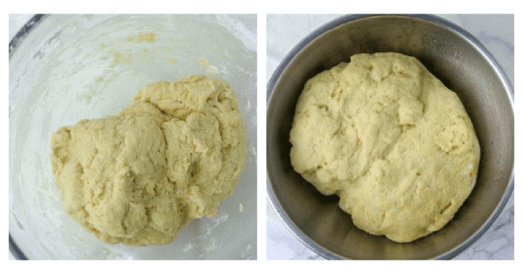 monkey bread dough unrisen, then doubled in size