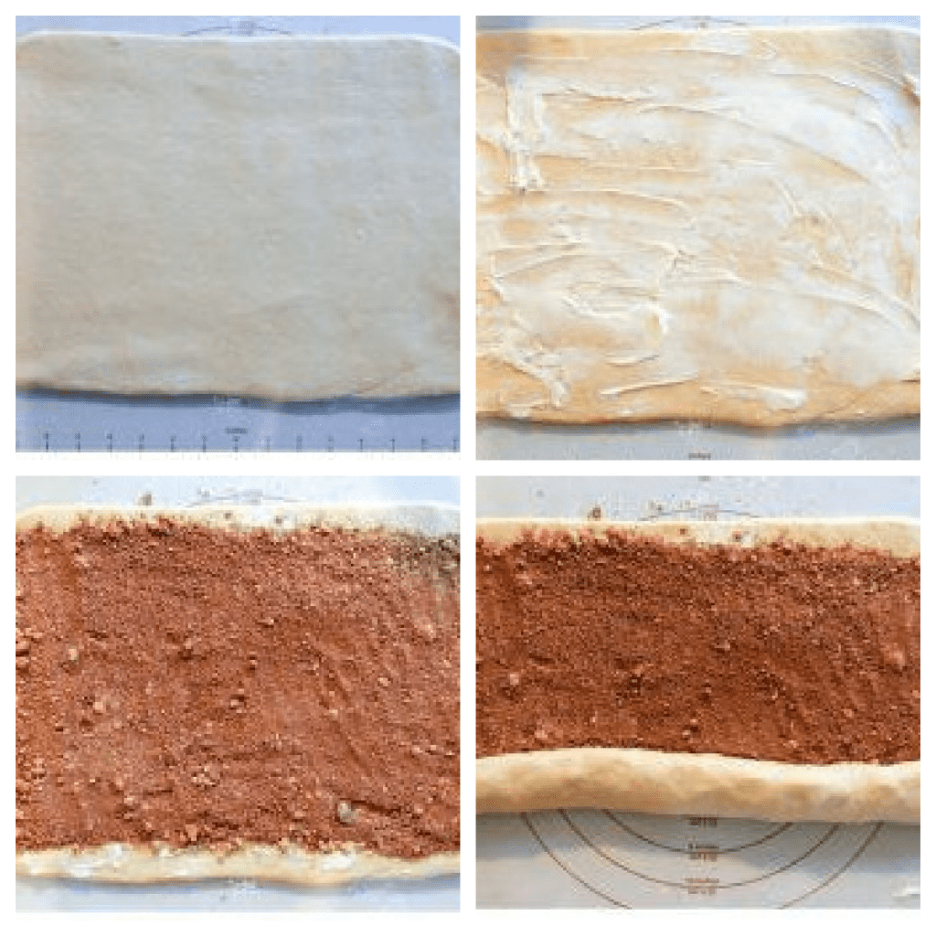rolling and shaping cinnamon rolls