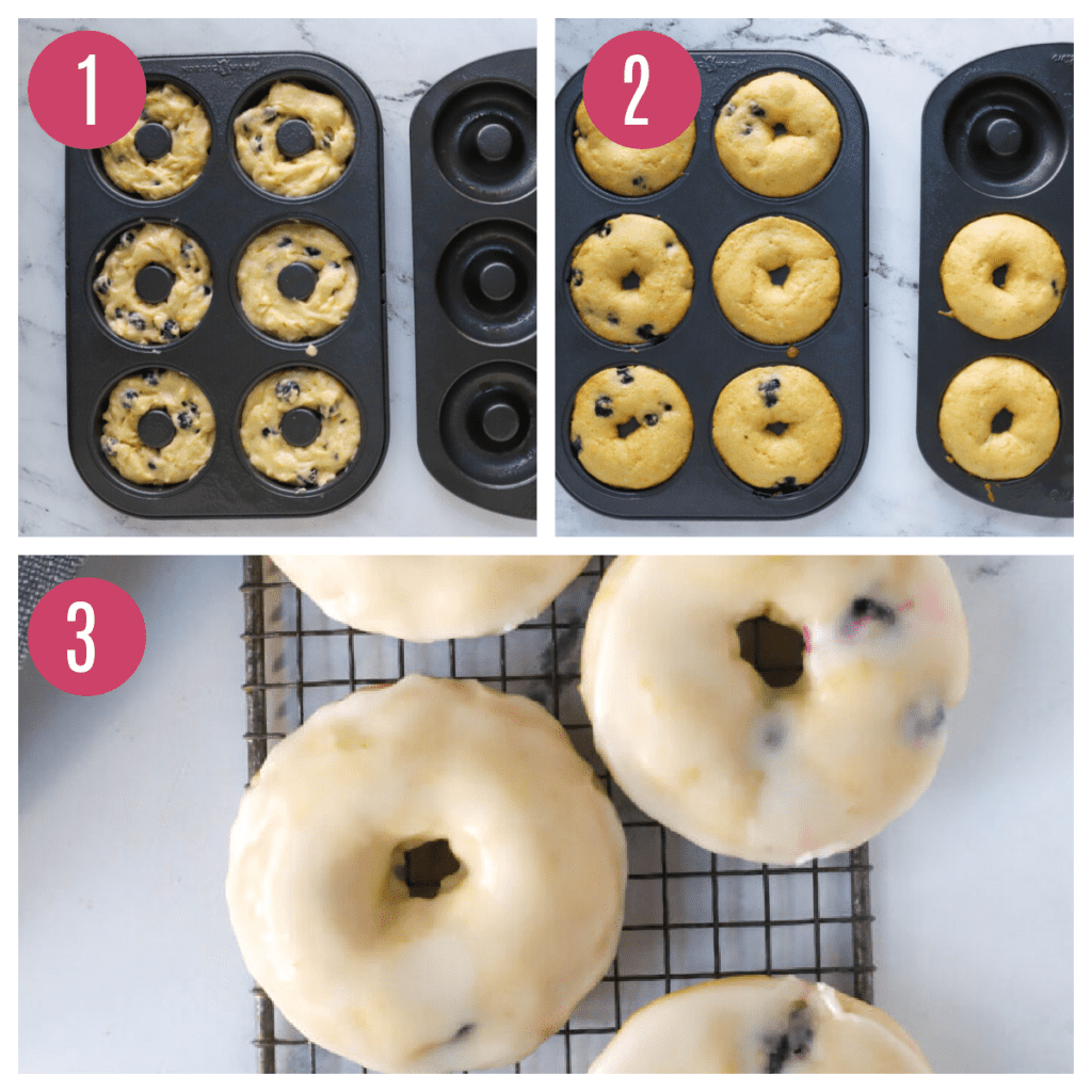 three images of donuts unbaked, baked, and dipped in glaze