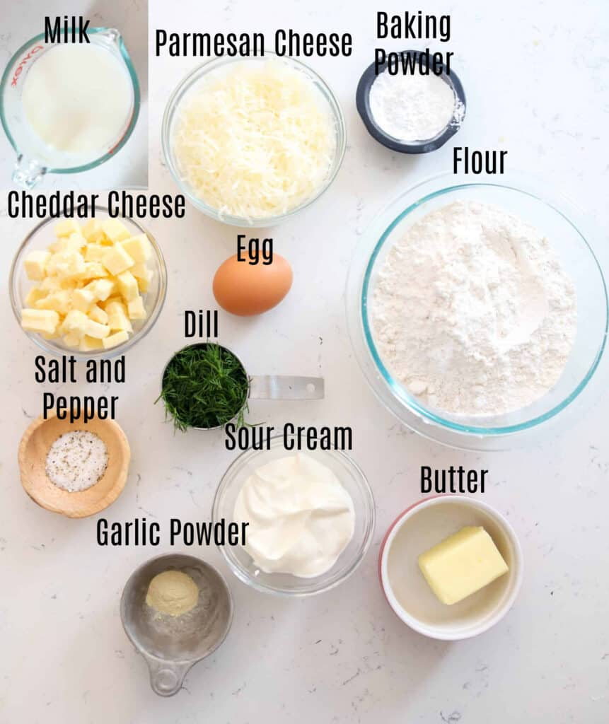 ingredients prepped in small bowls for cheesy dill bread
