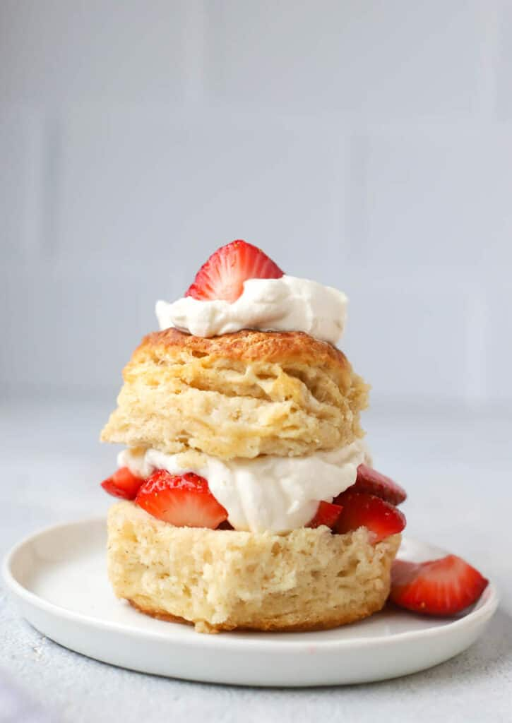 strawberry shortcake on a sourdough biscuit with whipped cream