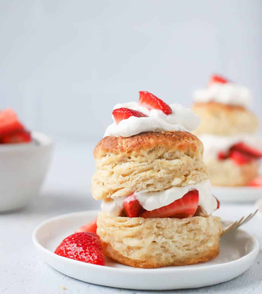 strawberry shortcake on a sourdough biscuit