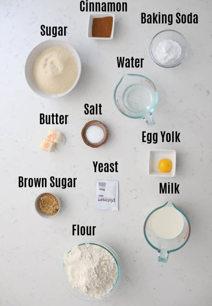 ingredients prepped for cinnamon sugar pretzel recipe