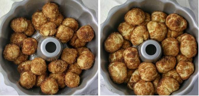 unbaked monkey bread rising in bundt pan