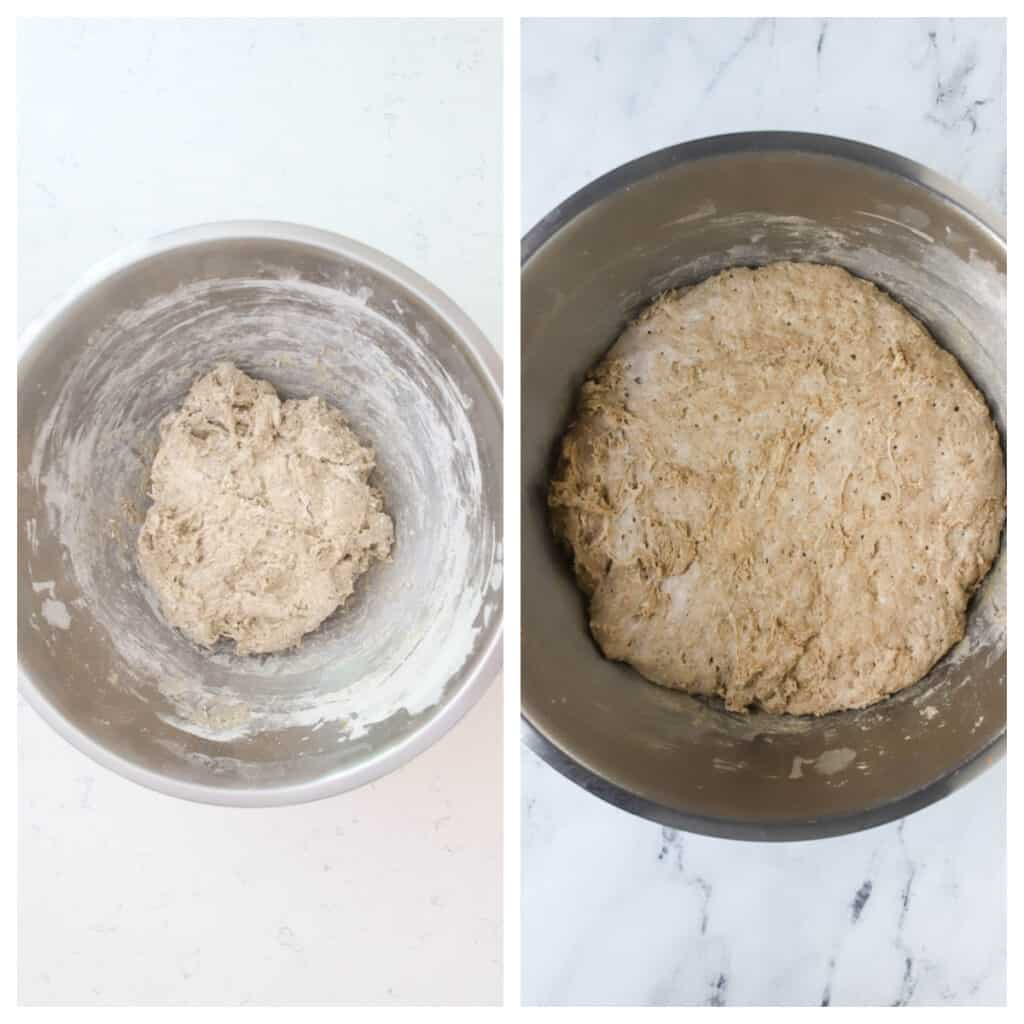 side by side photos of rye focaccia dough risen and unrisen