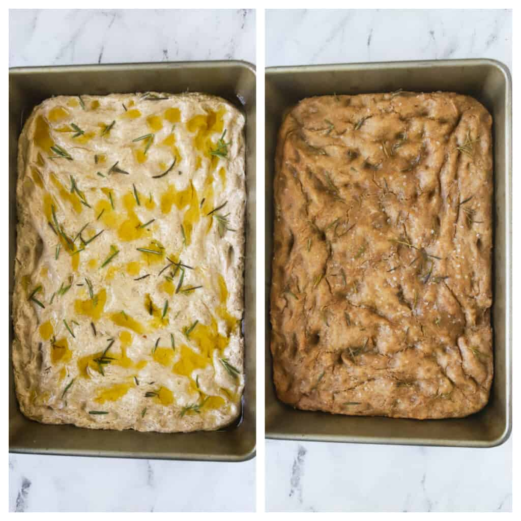 rosemary rye sourdough focaccia unbaked and baked side by side photos