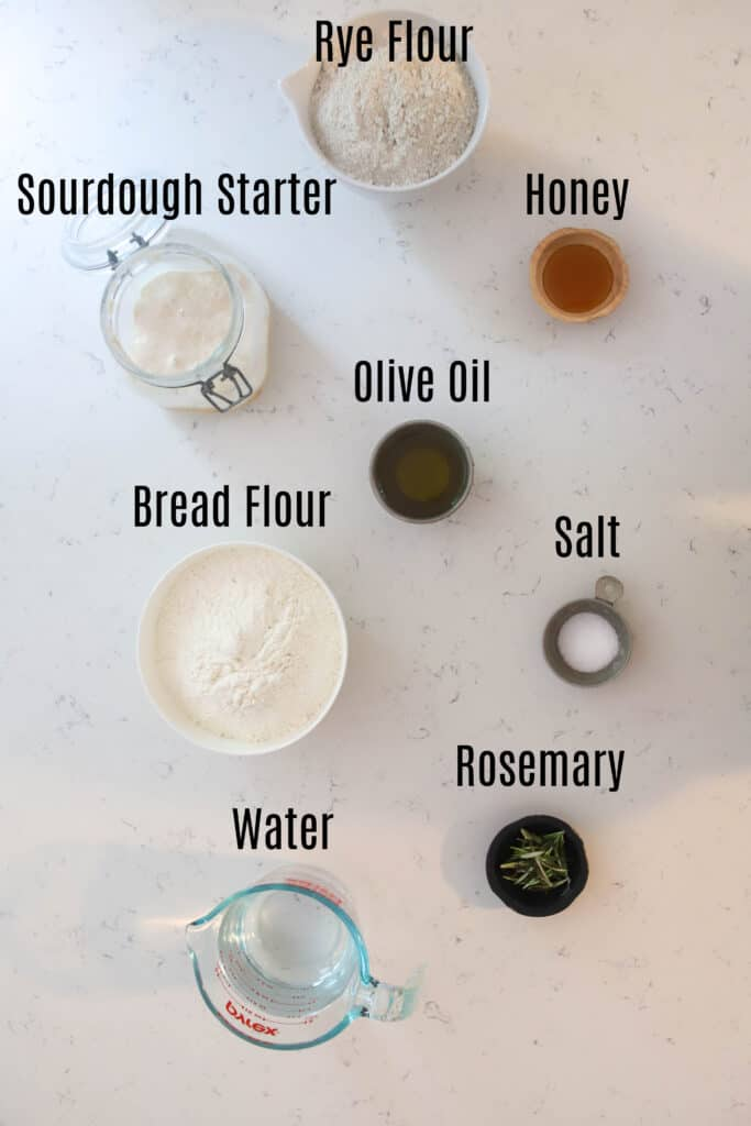 ingredient prepped for rosemary rye sourdough focaccia
