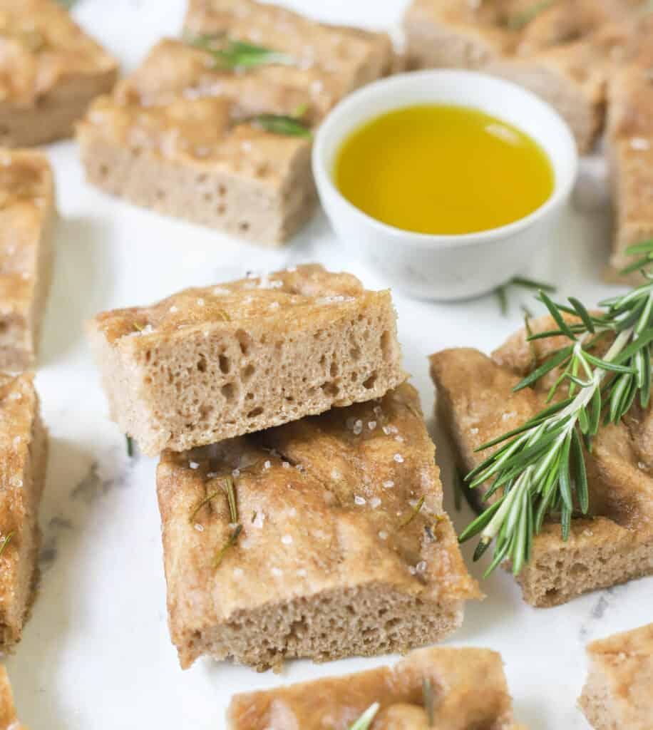 rosemary rye sourdough focaccia squares