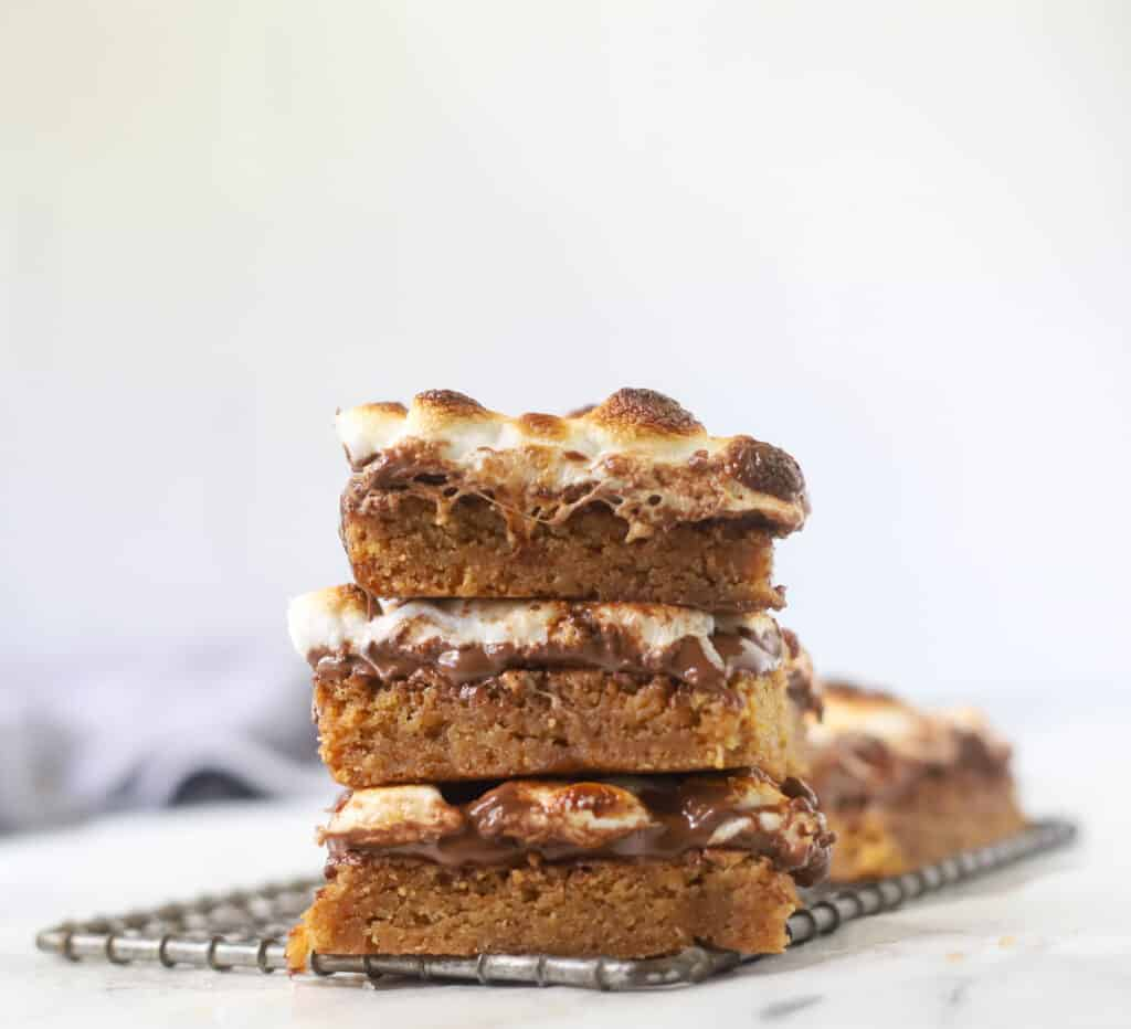 three S'mores bars stacked on top of each other