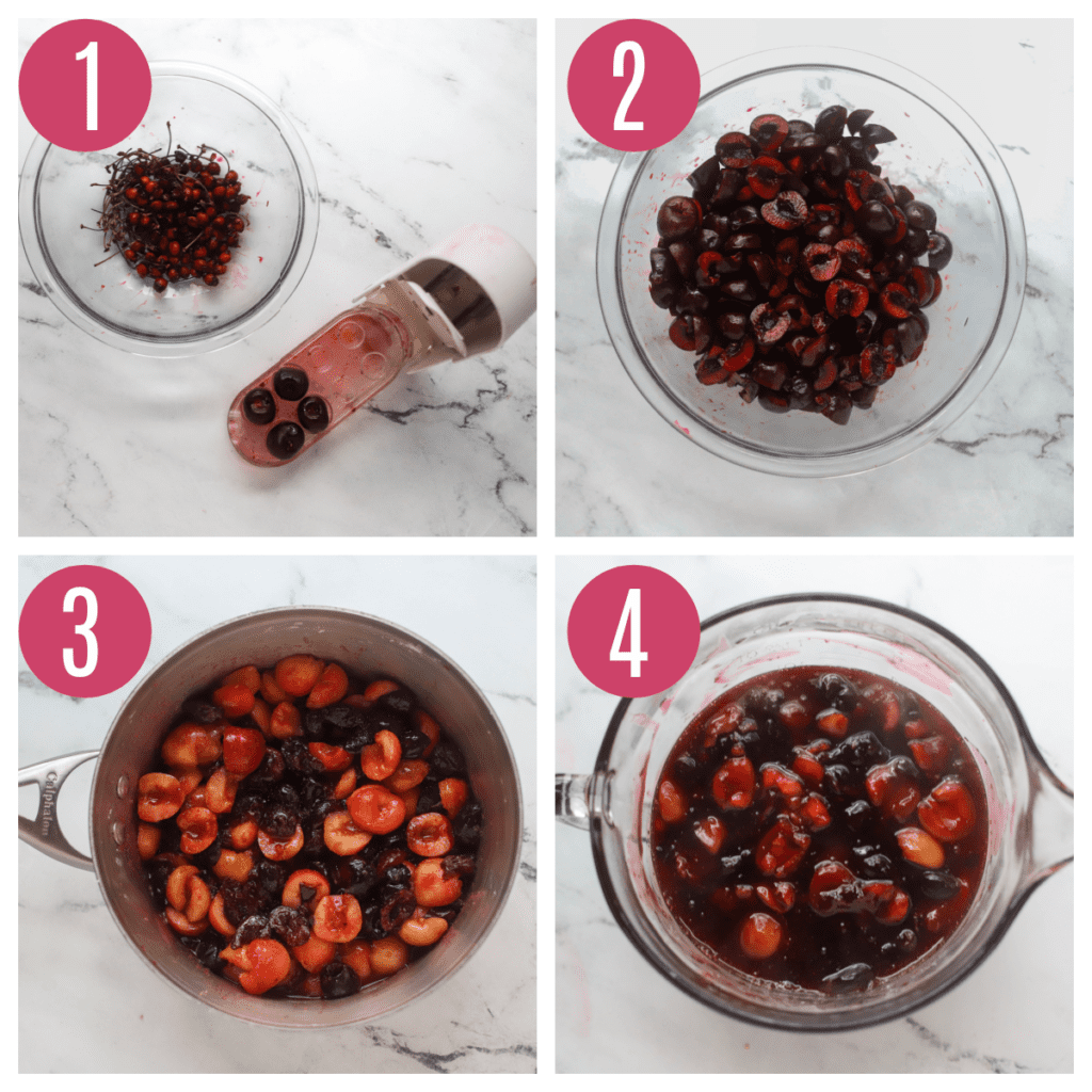 step by step photos of making cherry filling for cherry crumb pie