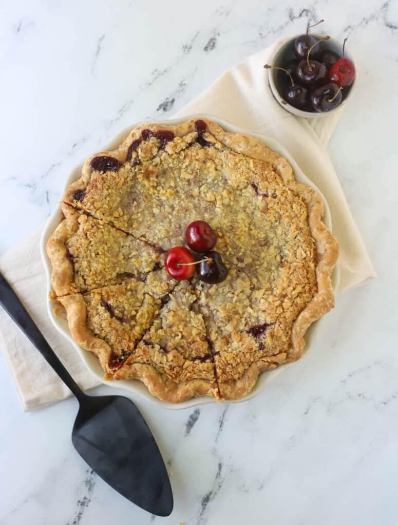whole cherry crumb pie