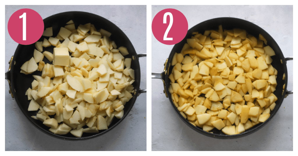apples and butter cooked in saucepan
