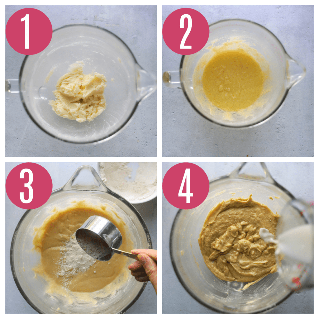 step by step photos of making whole wheat blueberry muffins