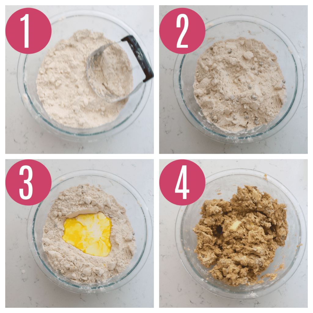 step by step photos of making apple scone dough