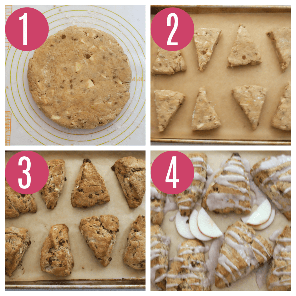 step by step photos of shaping and baking apple scones
