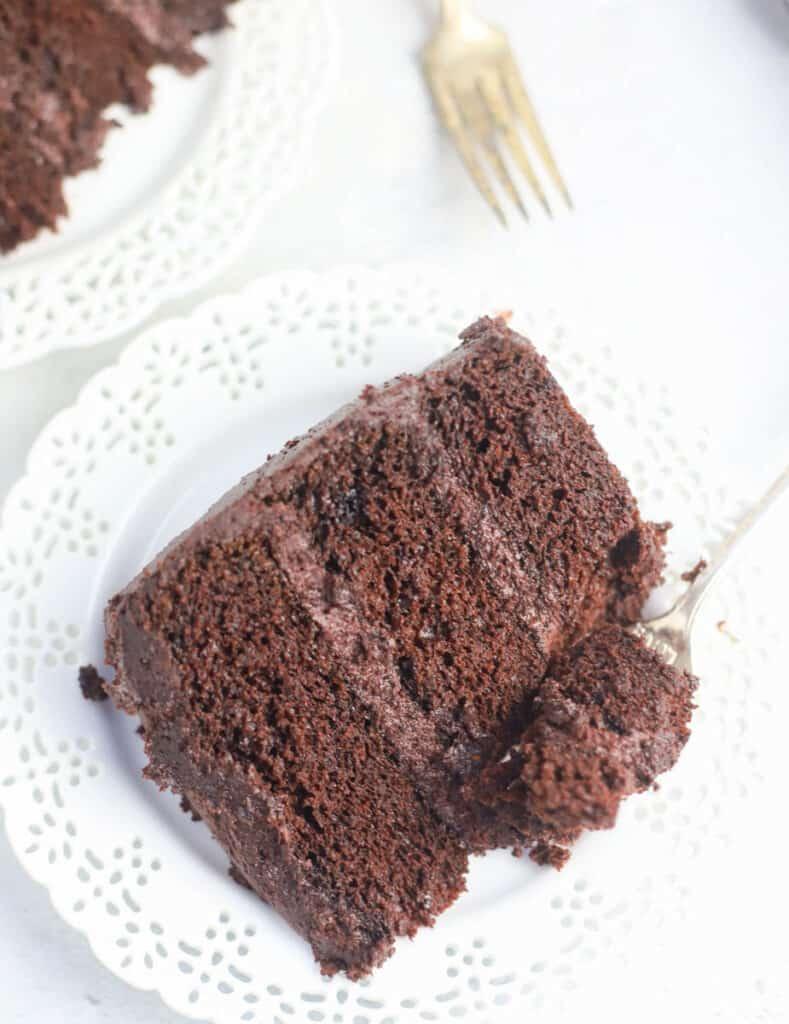slice of sourdough chocolate cake on a plate