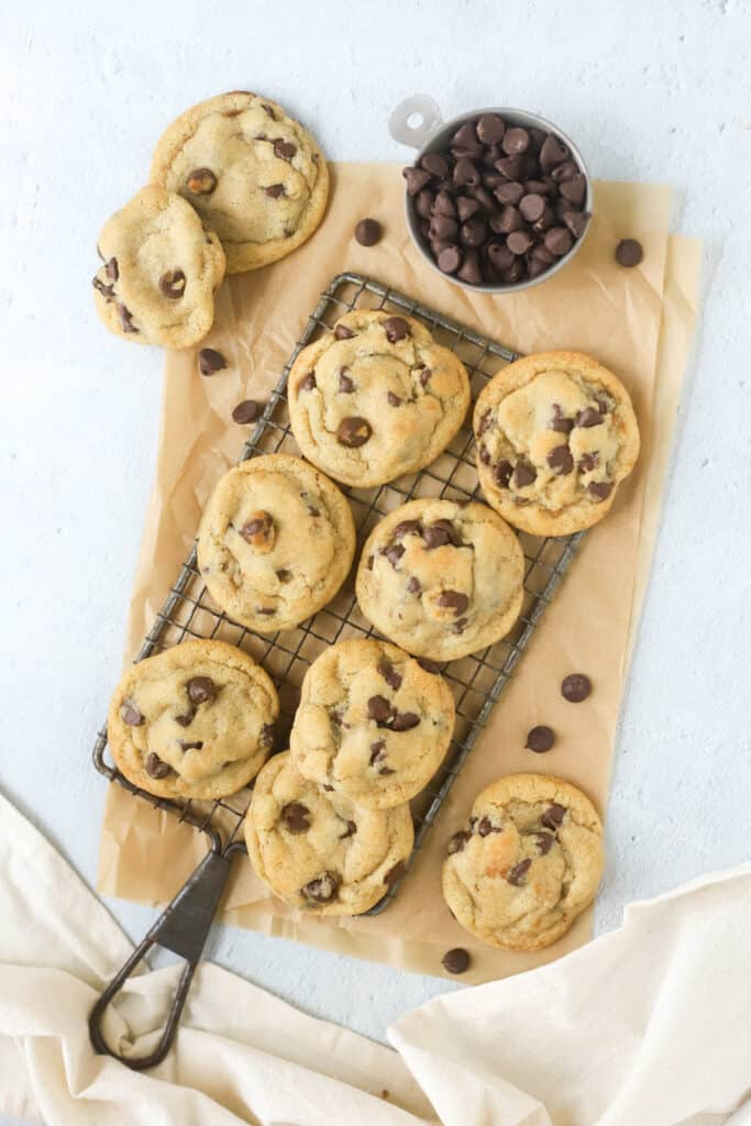 eggless chocolate chip cookies on a cooling rack