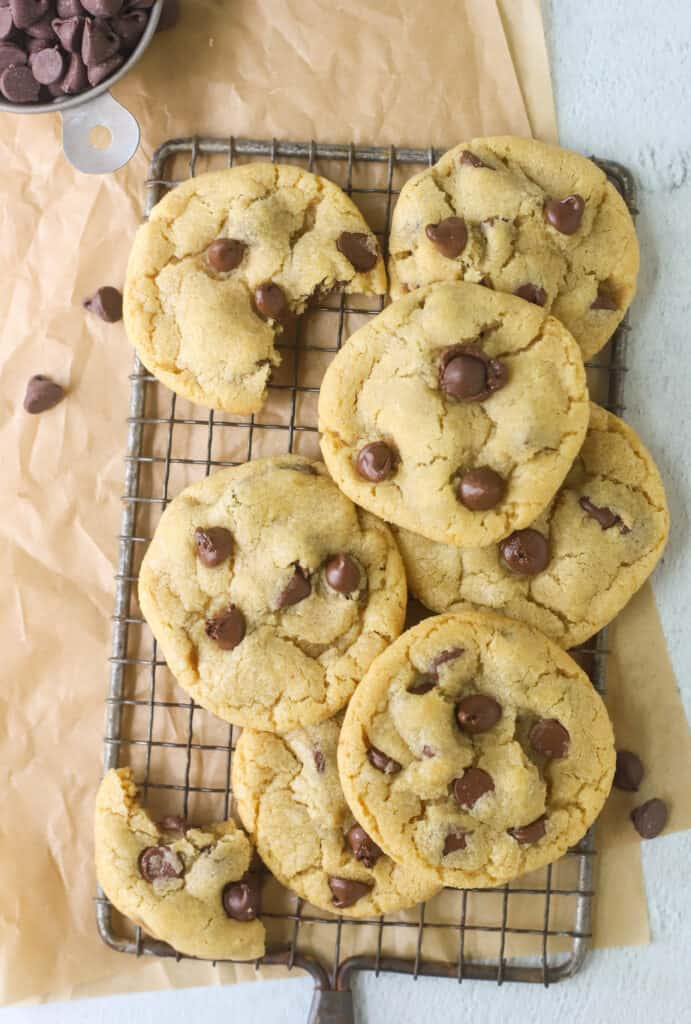 small batch chocolate chip cookies on a cooling rack