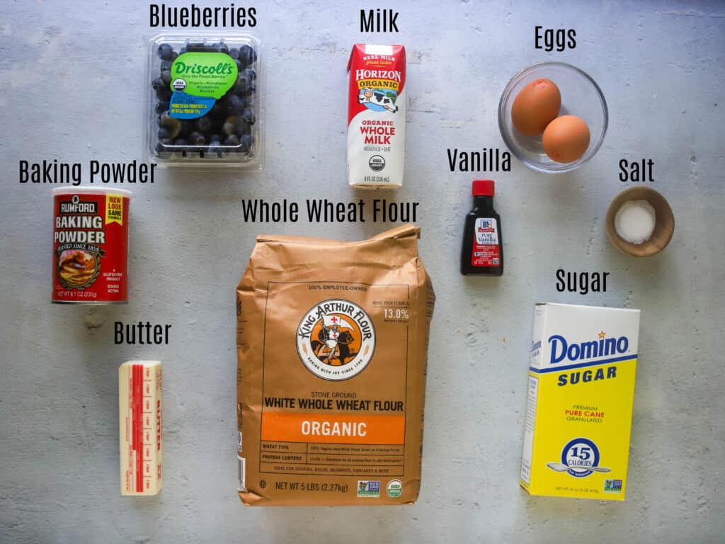 ingredients for whole wheat blueberry muffins