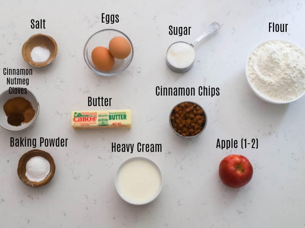 ingredients prepped for cinnamon apple scone recipe