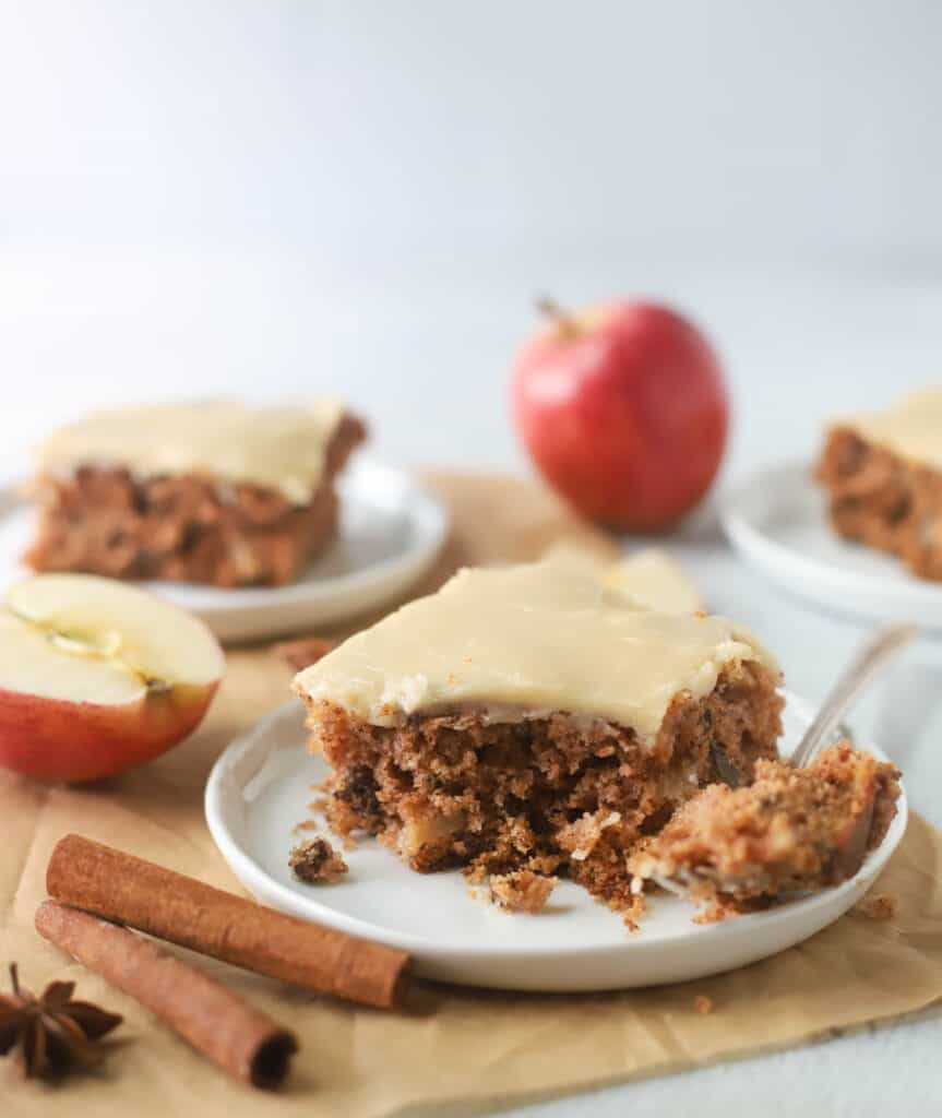 slice of apple sheet cake on a plate
