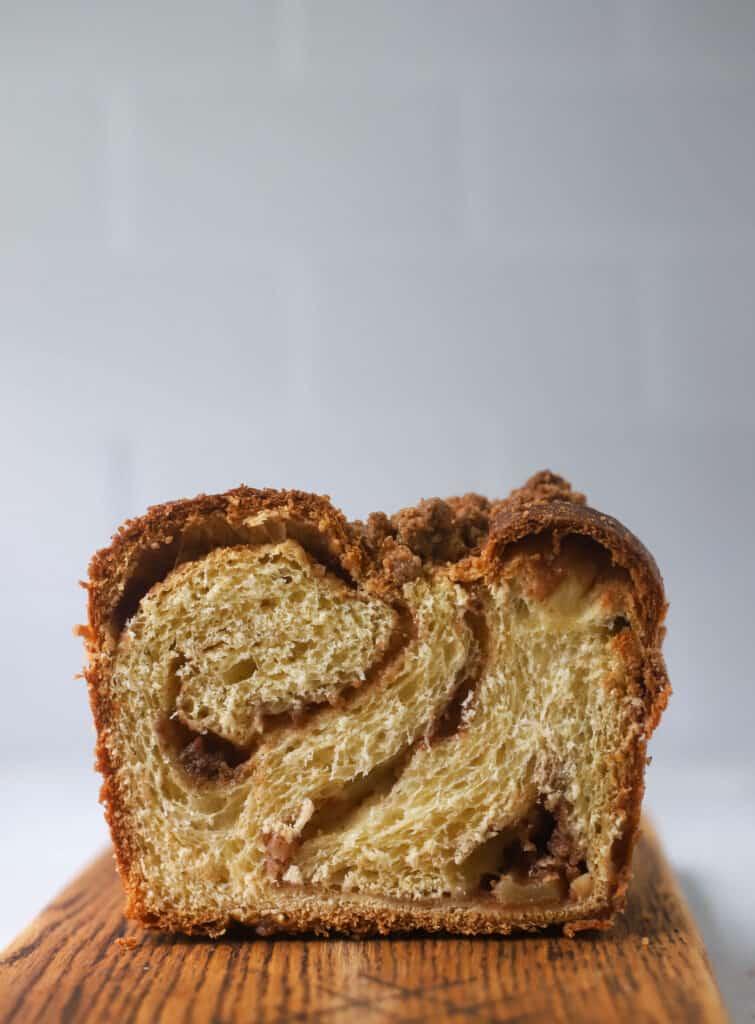 apple babka loaf cut in half