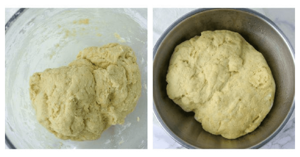 dough rising in a bowl for nutella bread