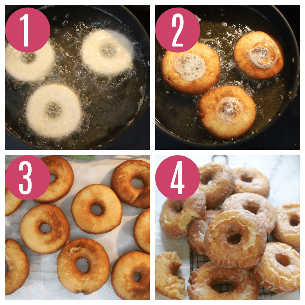 step by step of frying sour cream donuts