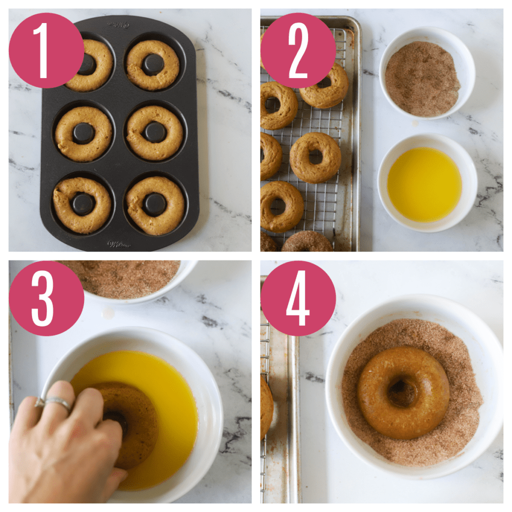 step by step photos of baking and coating pumpkin donuts in cinnamon sugar