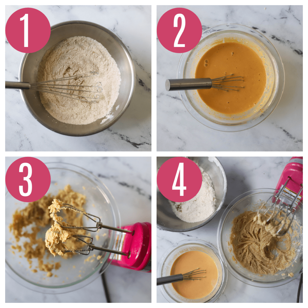 step by step photos of making pumpkin donut batter