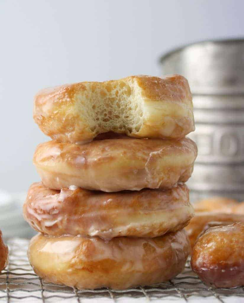 stacked glazed yeast donuts