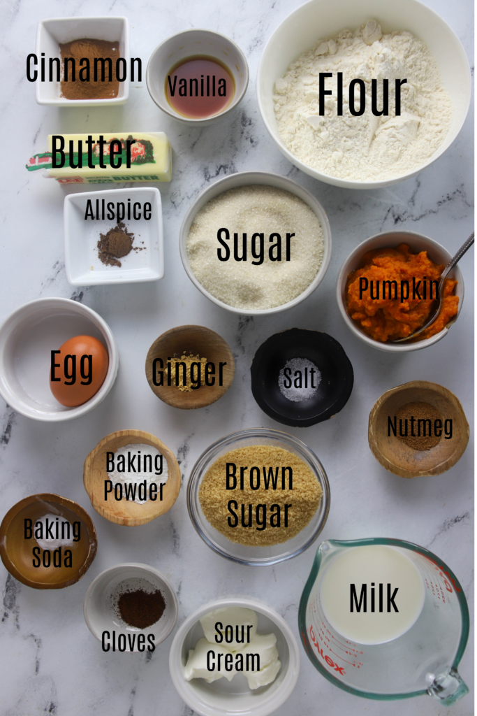 ingredients for pumpkin donuts