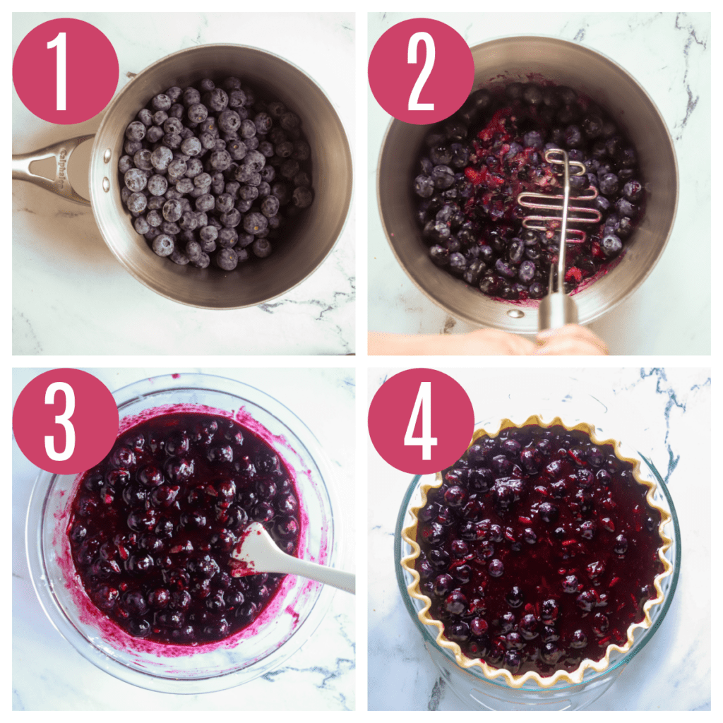 step by step photos of making blueberry filling for pie