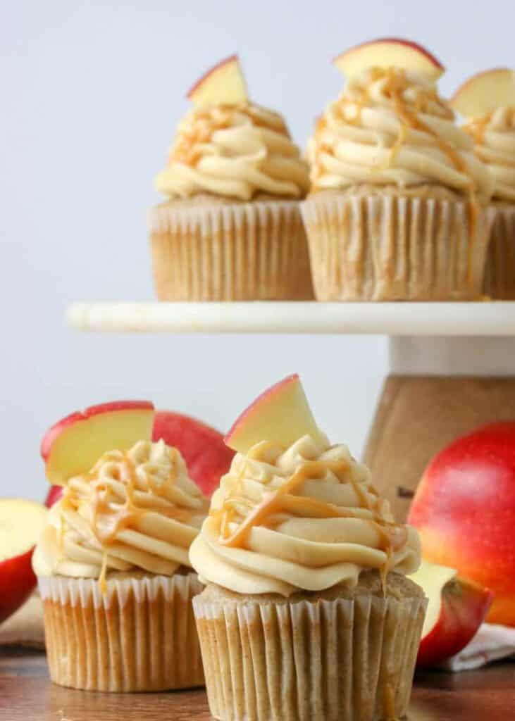 apple cupcakes frosted with caramel buttercream