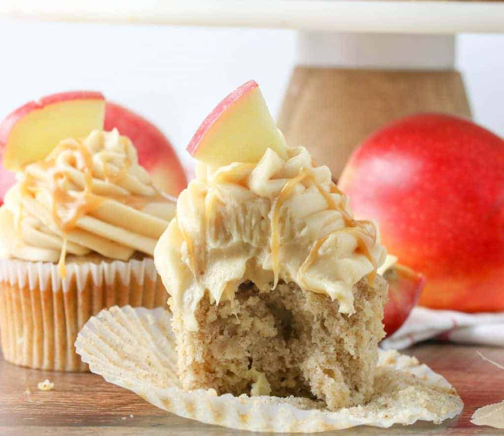 caramel apple cupcake with a bite taken out of it